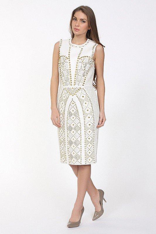 кожаное белое платье