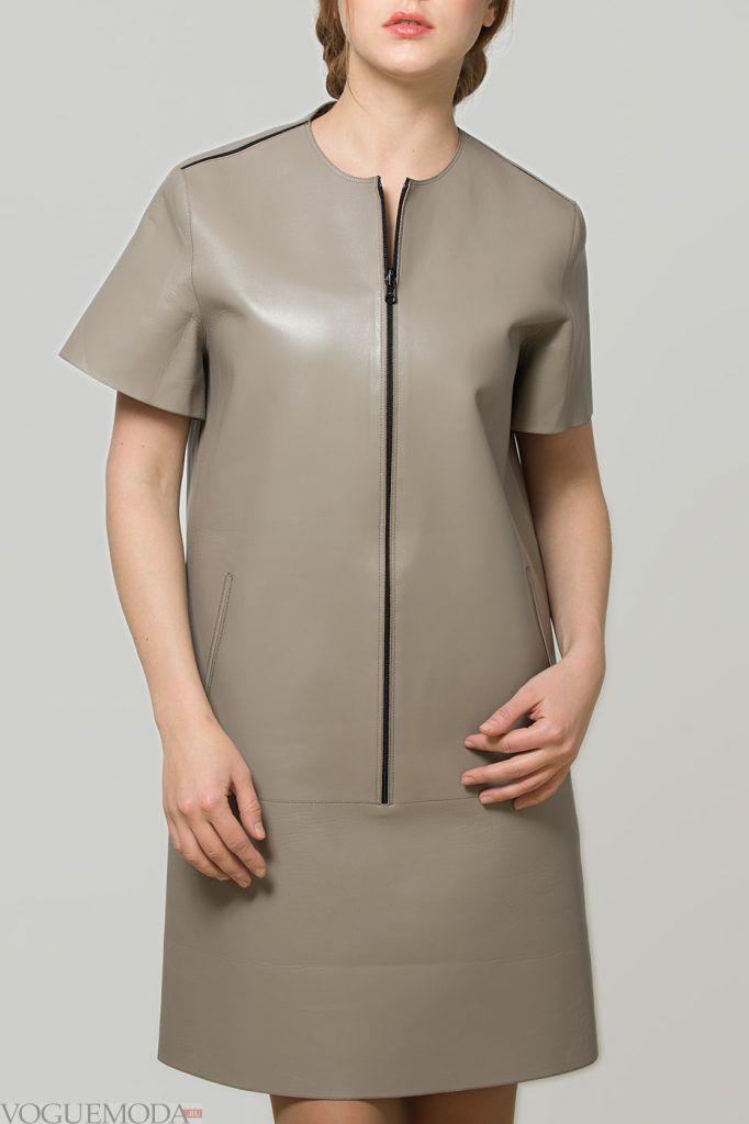 кожаное серое платье новинка