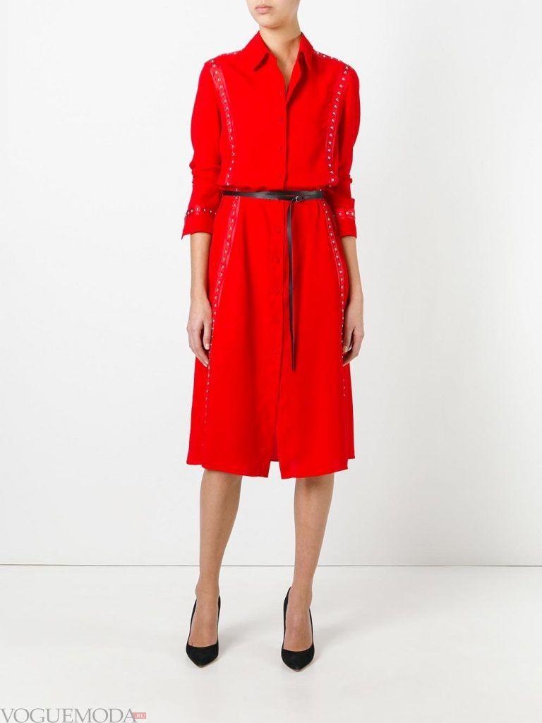 платье рубашка красное новинка