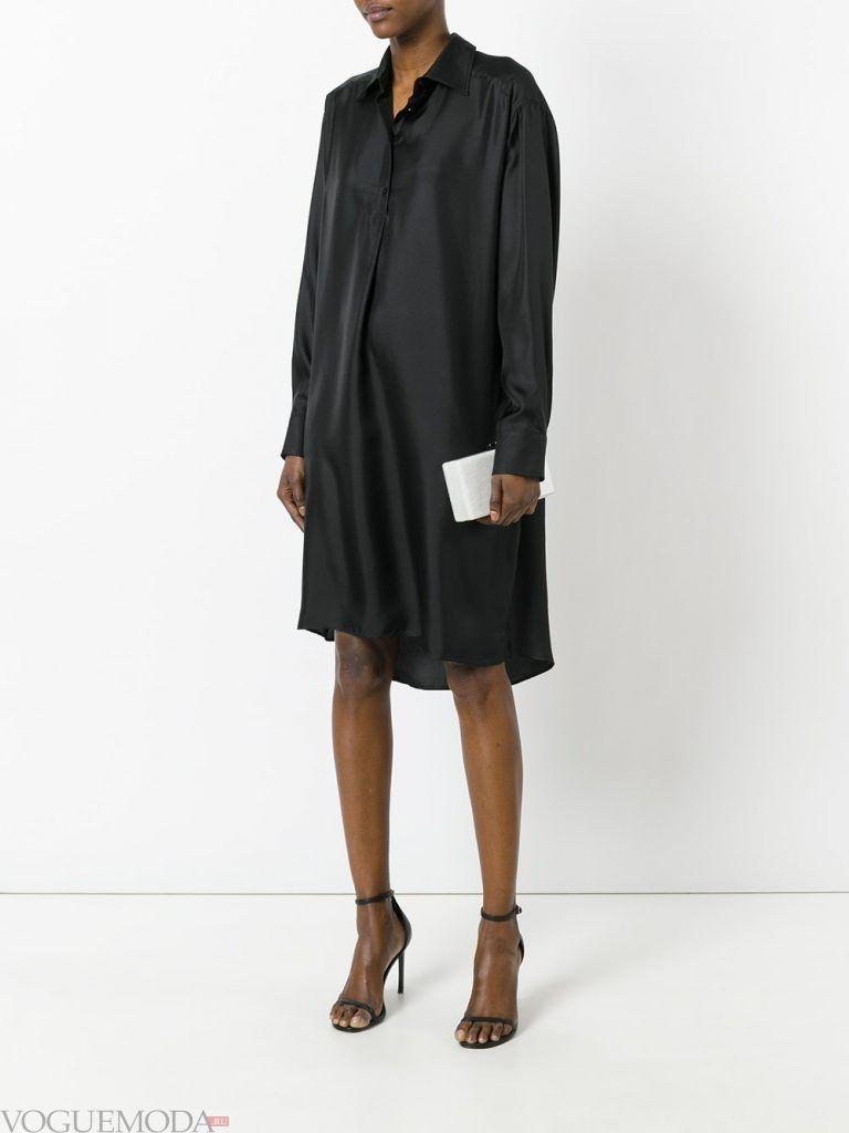 платье рубашка черное новинка