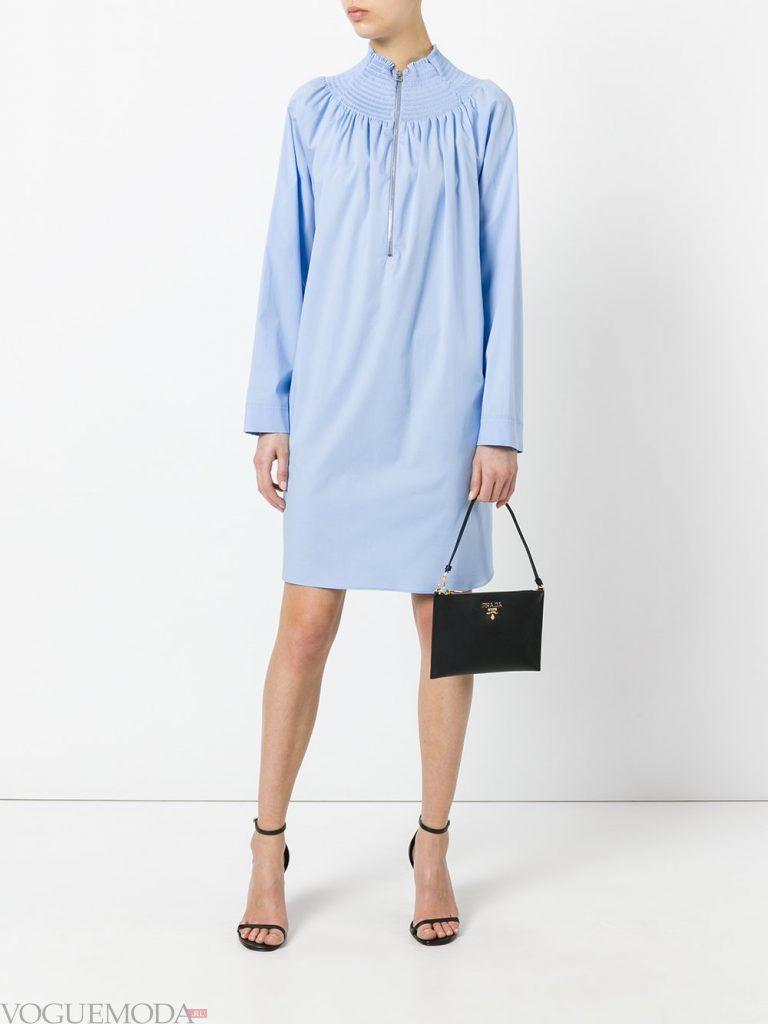 платье рубашка голубое новинка