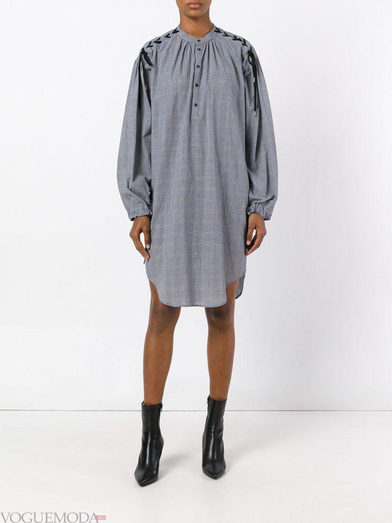 платье рубашка серое новинка
