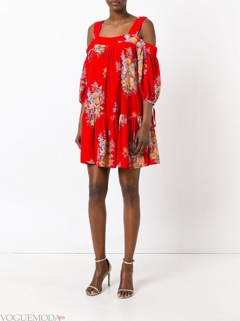 легкое каждодневное платье красное