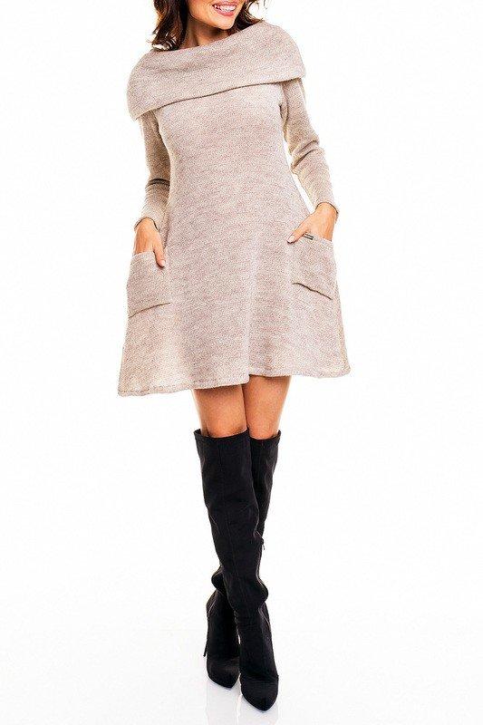 платье нюдовое осень зима новинка