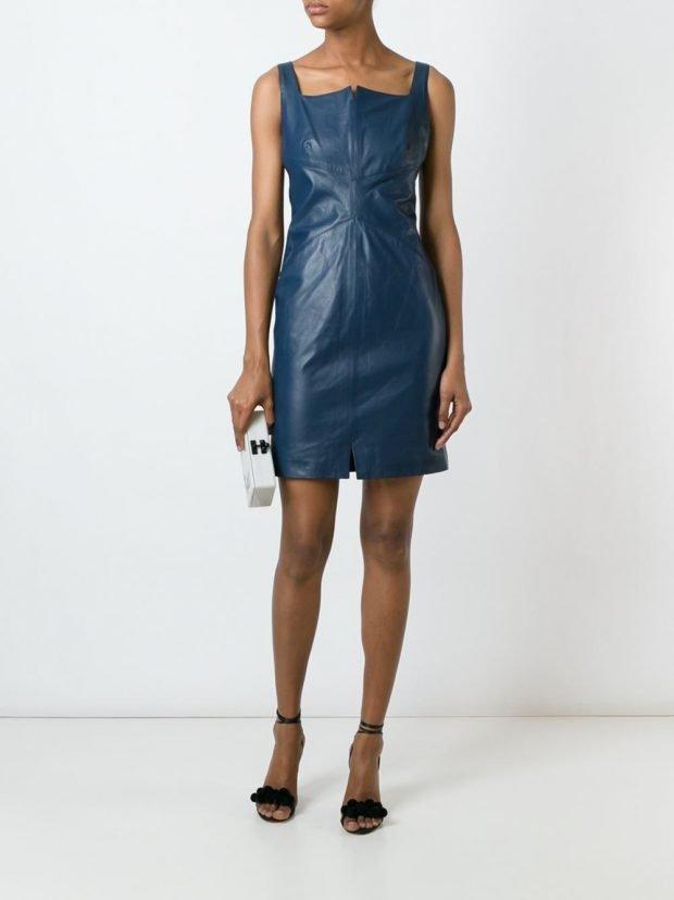 платье синее осень зима новинка