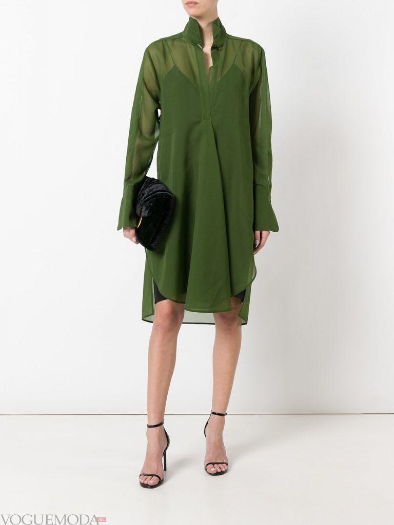 платье весна лето зеленое новинка