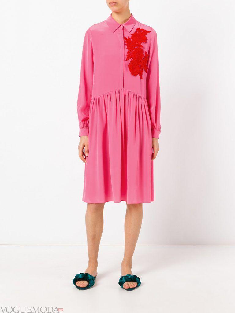 платье розовое весна лето новинка