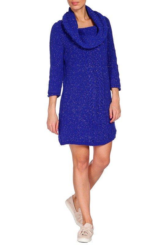 вязаное фиолетовое платье