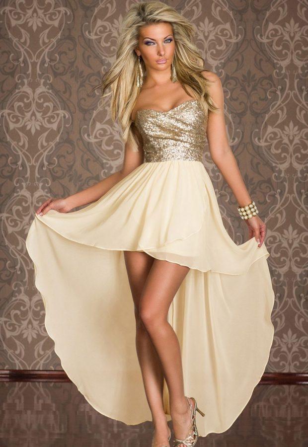 короткое платье на выпускной с декором