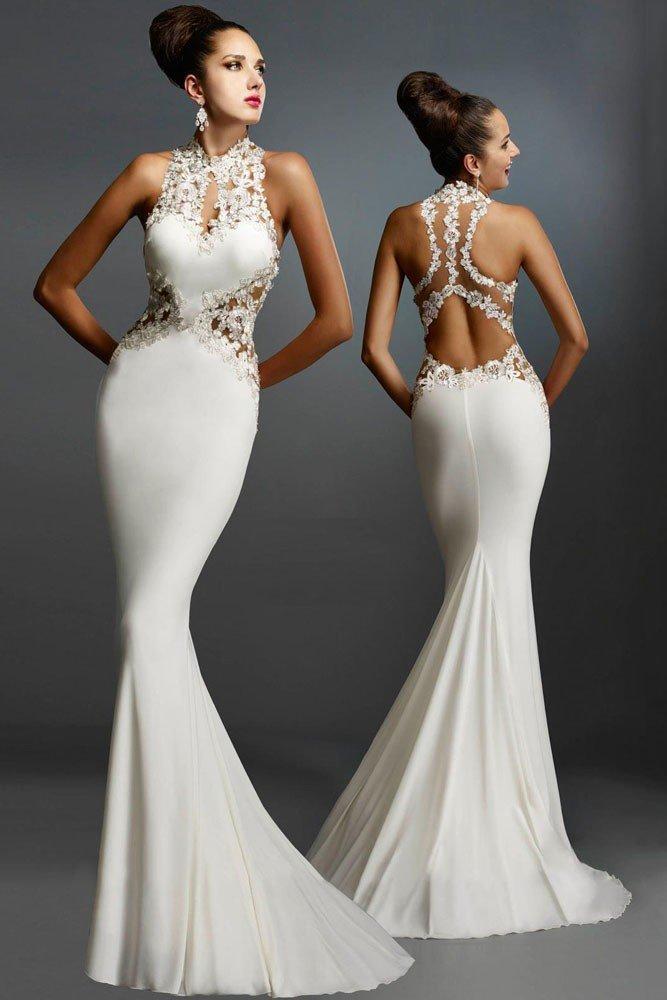выпускное платье с открытой спиной белое