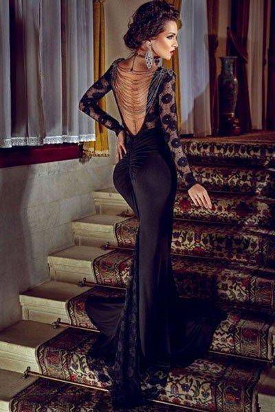 выпускное платье с открытой спиной черное