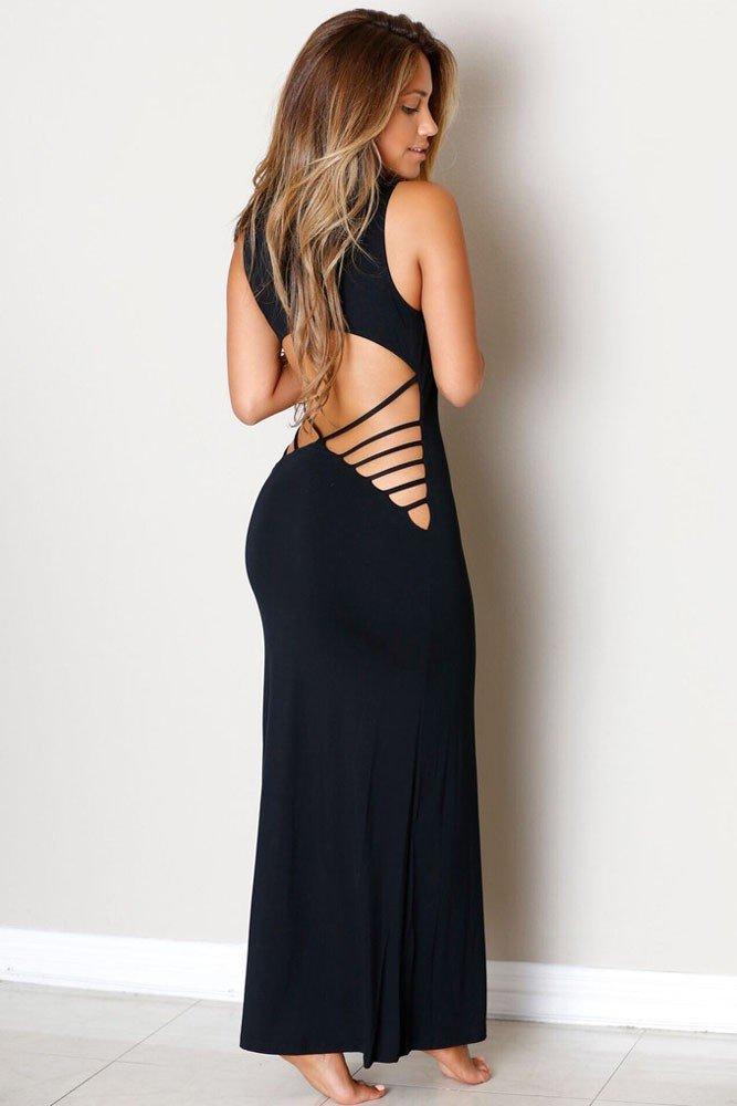 выпускное платье с открытой спиной темное