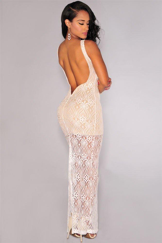 выпускное платье с открытой спиной светлое