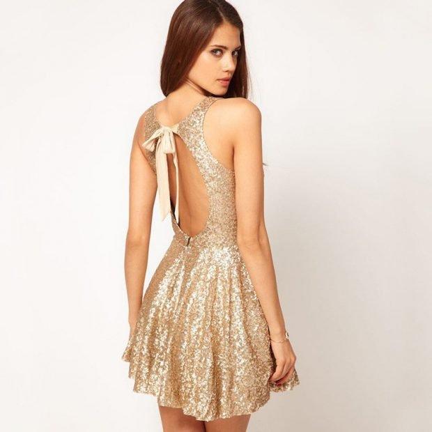 выпускное платье с открытой спиной короткое