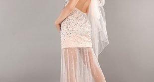 выпускное платье с открытой спиной с декором