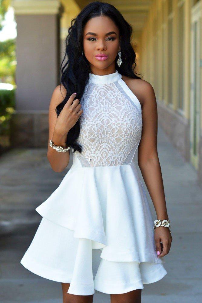 коктейльное выпускное платье белое