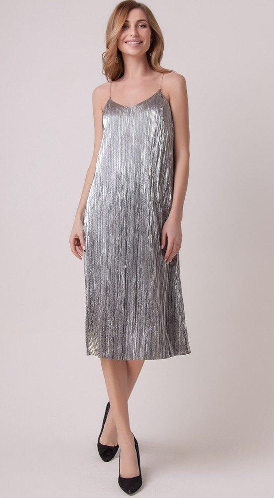 коктейльное выпускное платье серое
