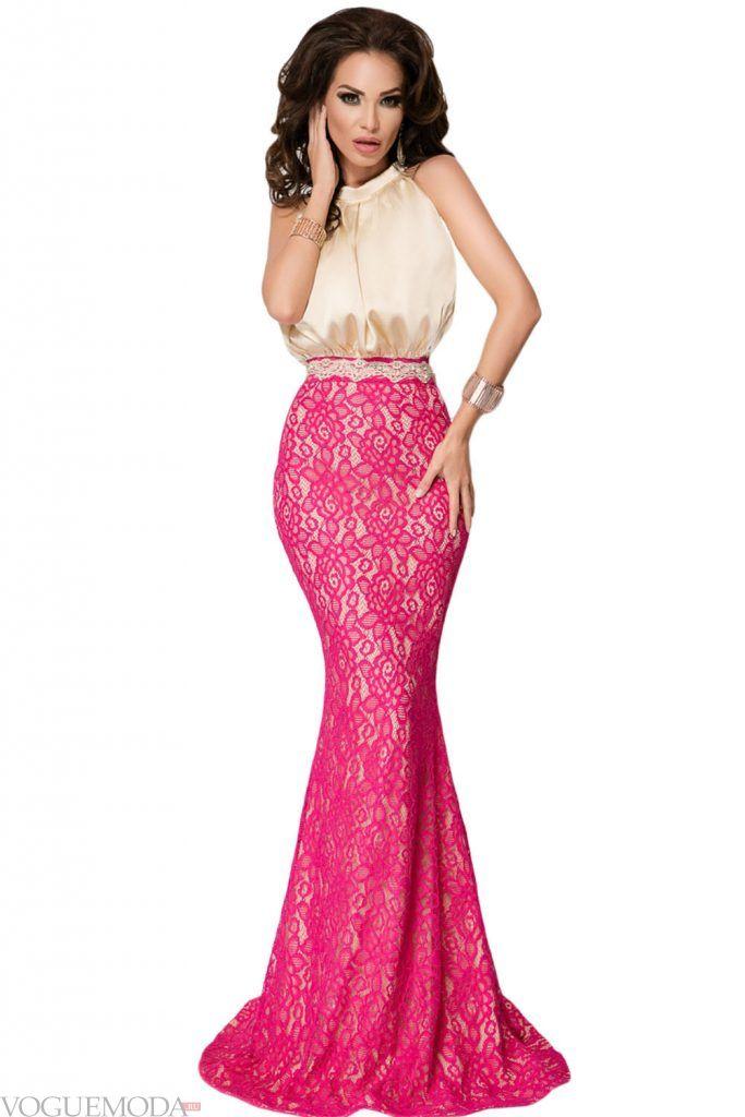 длинное выпускное платье двухцветное