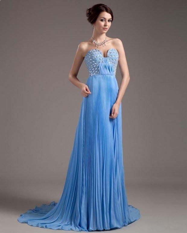 длинное выпускное платье голубое