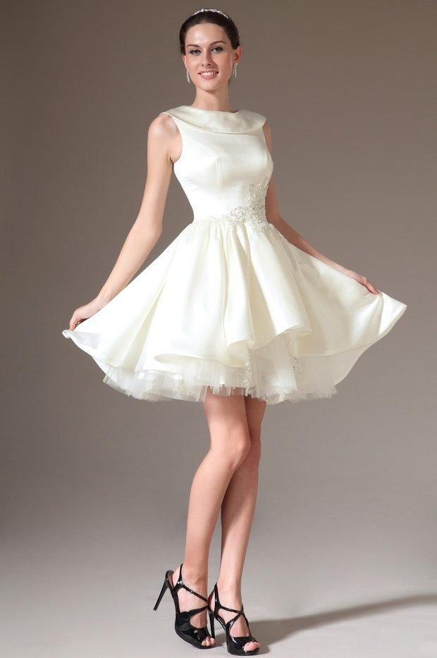 короткое платье на выпускной белое