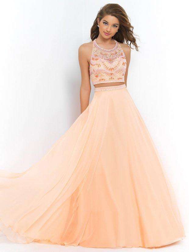 длинное выпускное платье персиковое