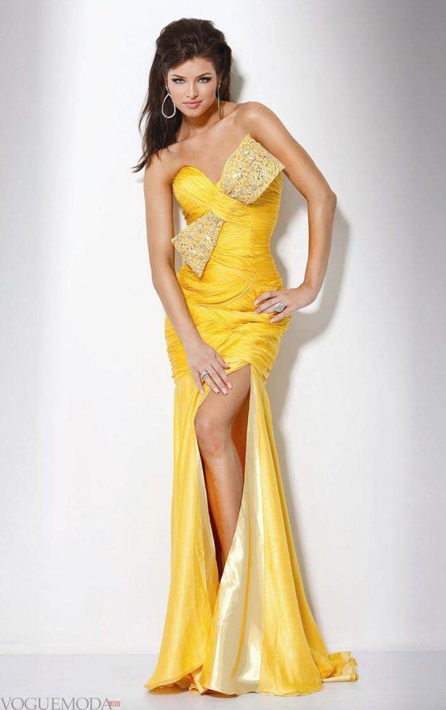 длинное выпускное платье желтое