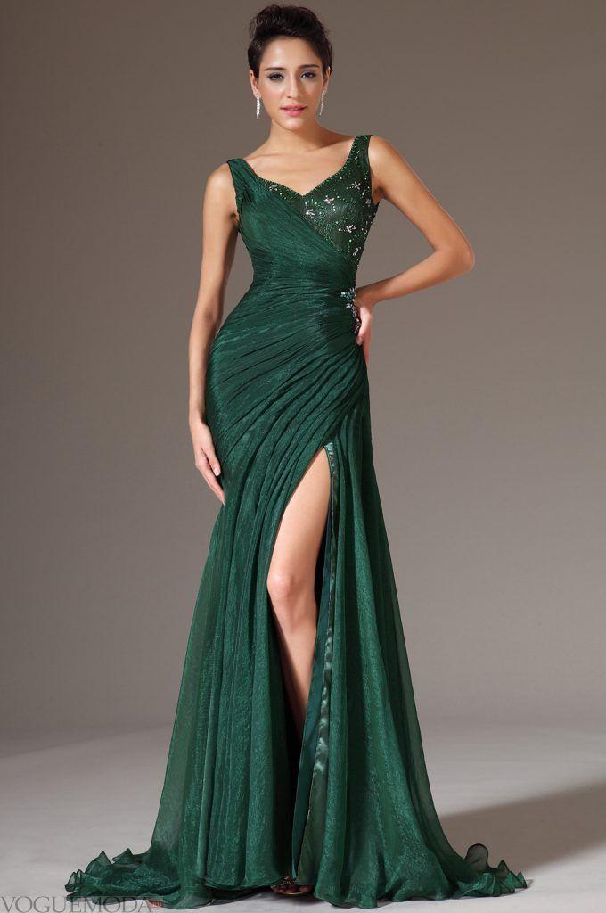 длинное выпускное платье зеленое