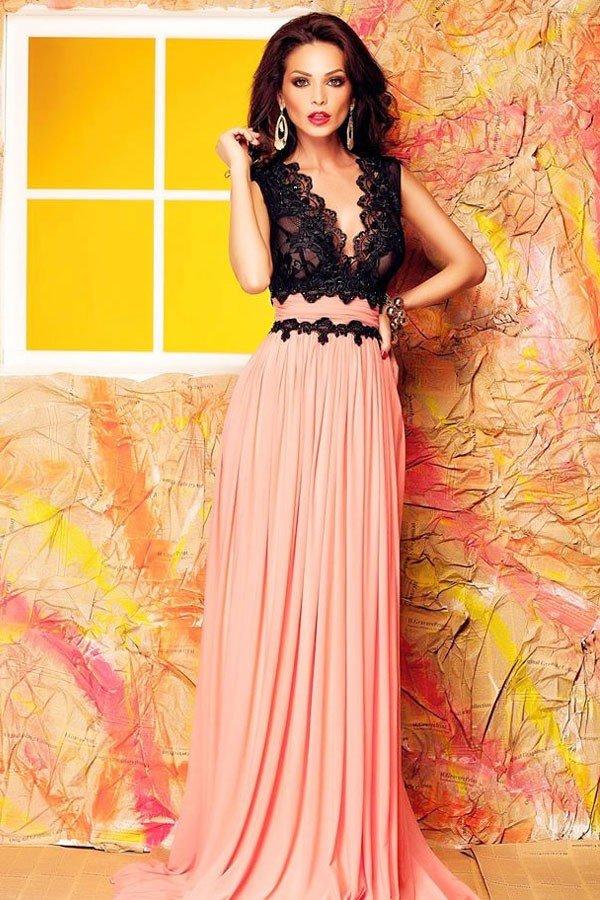 греческое выпускное платье двухцветное