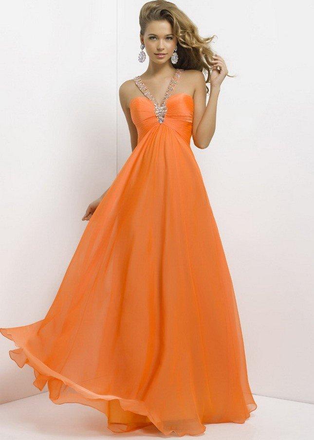 греческое выпускное платье оранжевое