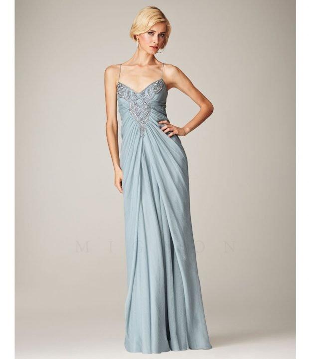 греческое выпускное платье голубое