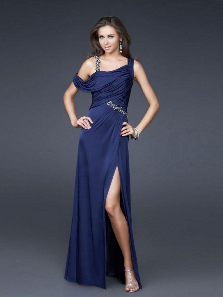 греческое выпускное платье синее