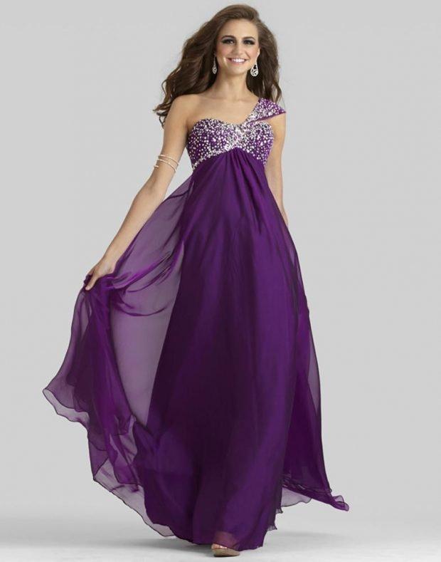греческое выпускное платье фиолетовое