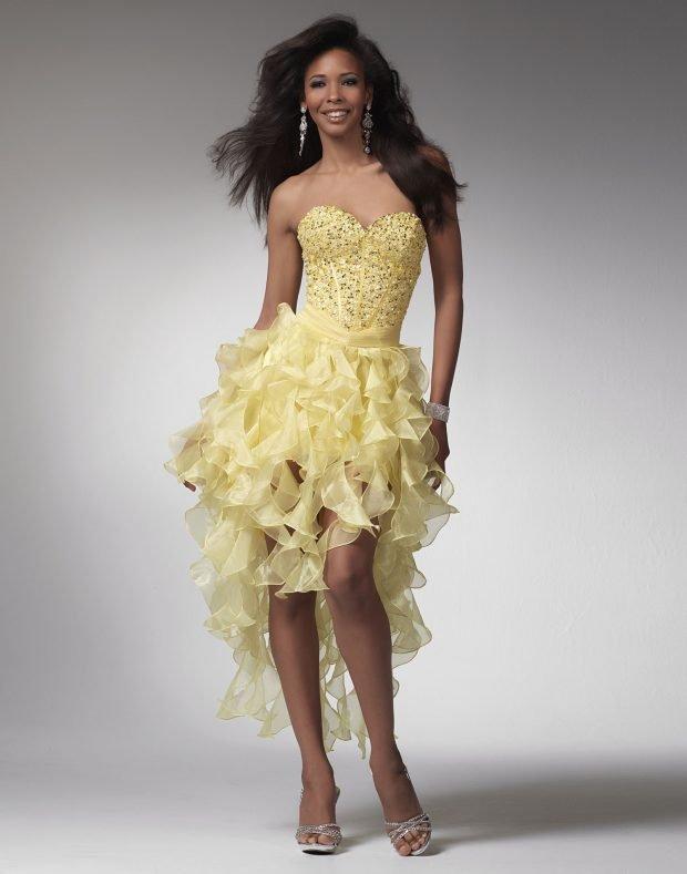красивое платье на выпускной желтое