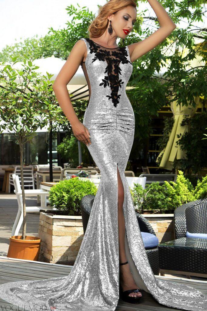 красивое платье на выпускной серебристое