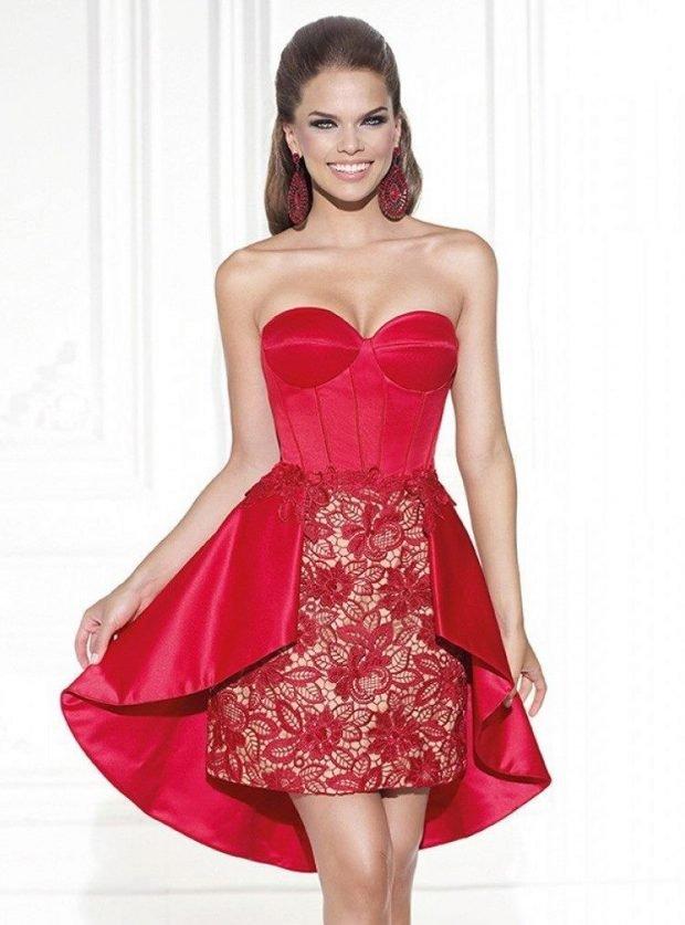 короткое платье на выпускной красное