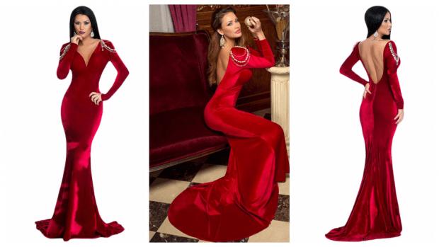 выпускное платье с открытой спиной красное