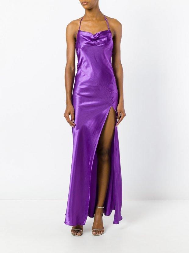 фиолетовое атласное с разрезом
