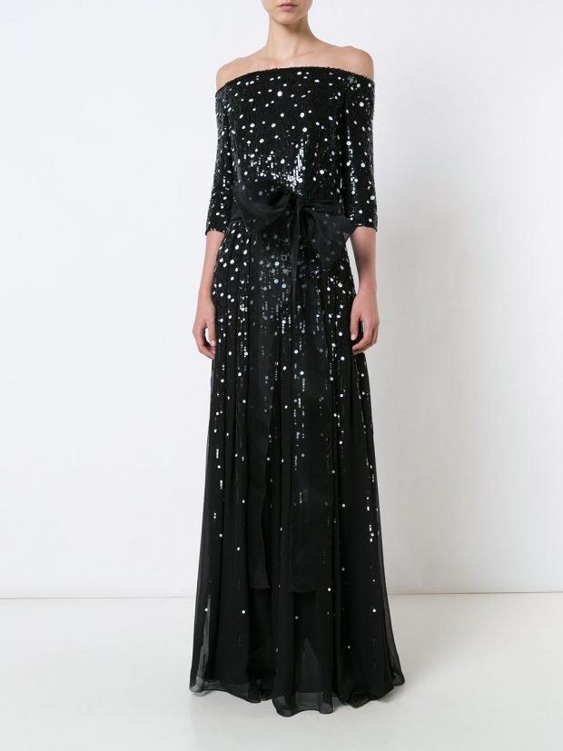 платья на выпускной 2021: черное длинное в белый горох