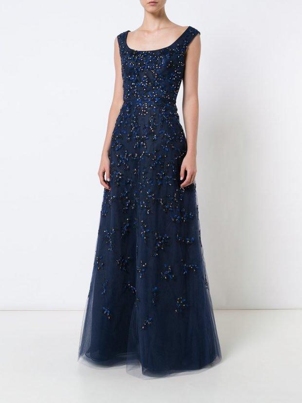 платья на выпускной 2020 2021: синее с камнями