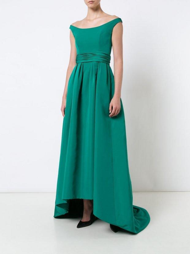 платья на выпускной 2020 2021: зеленое асимметричное