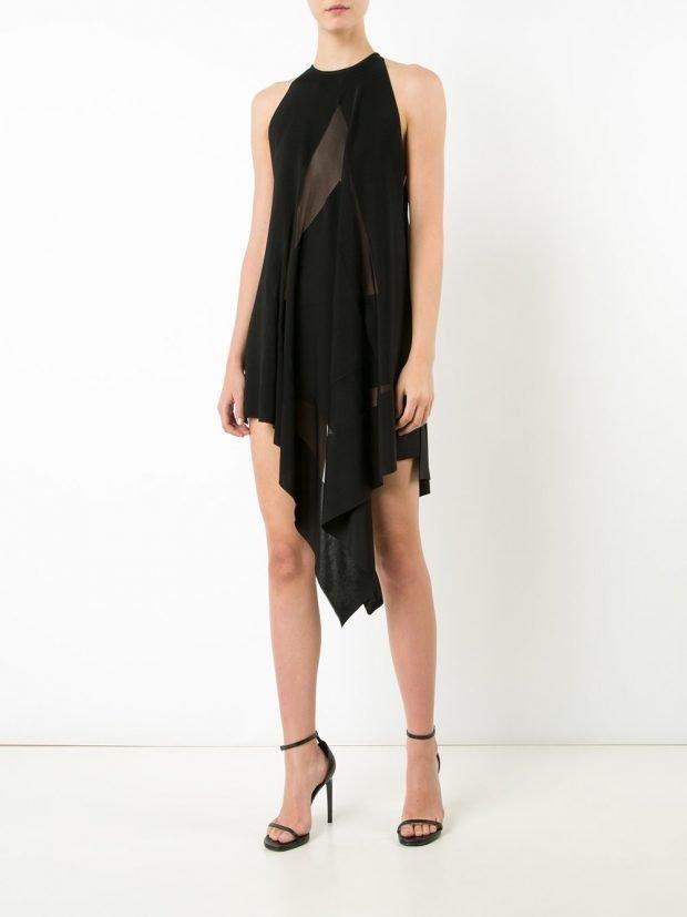 платья на выпускной 2020 2021: асимметричное черное миди
