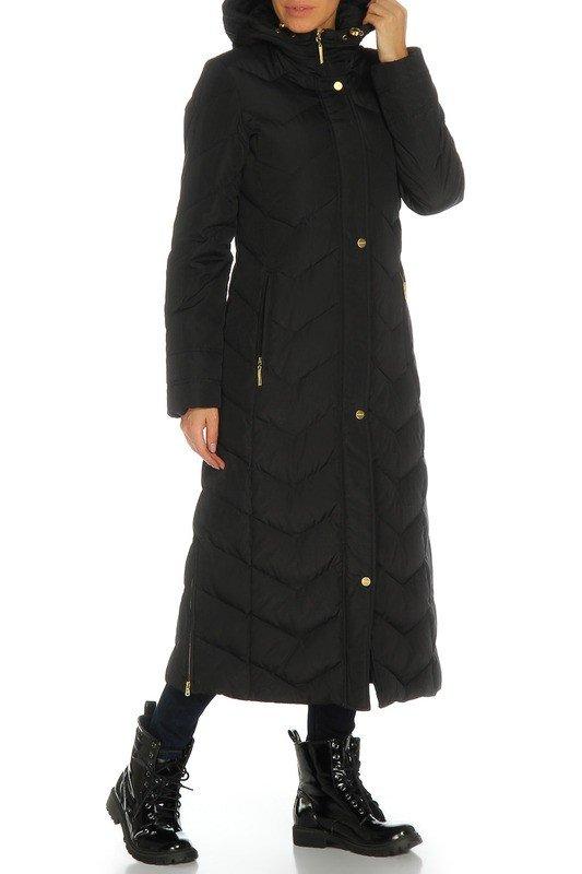 длинный пуховик черный с чем носить