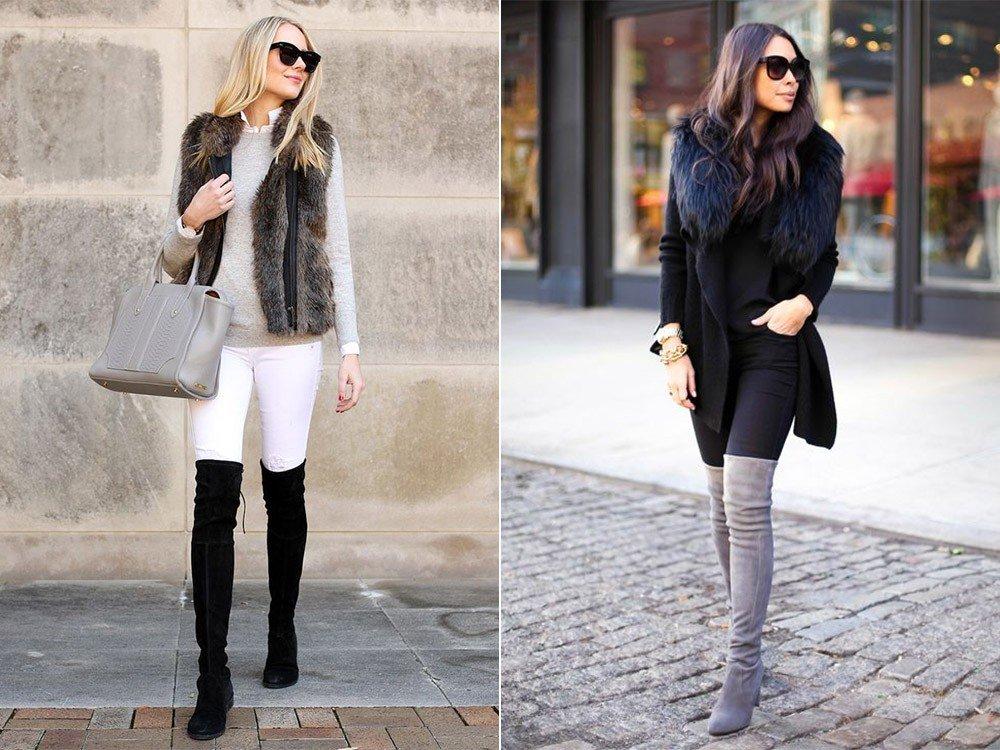зимние ботфорты-чулки разные