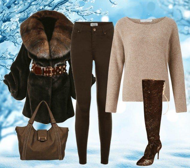 зимний лук с ботфортами коричневый
