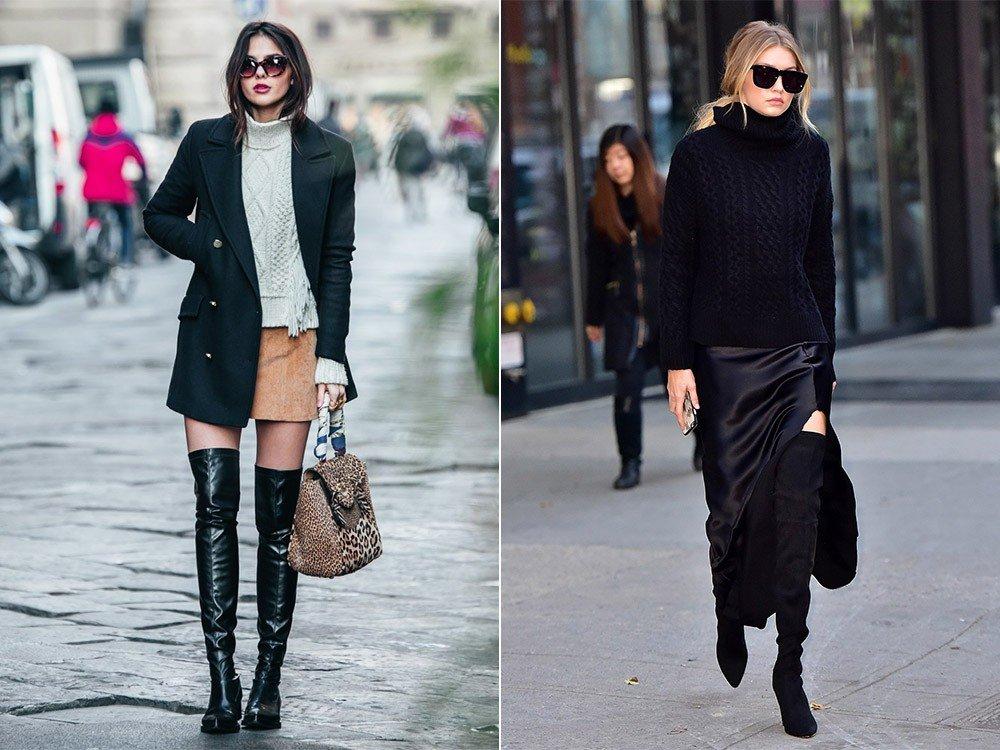 зимние ботфорты-чулки черные