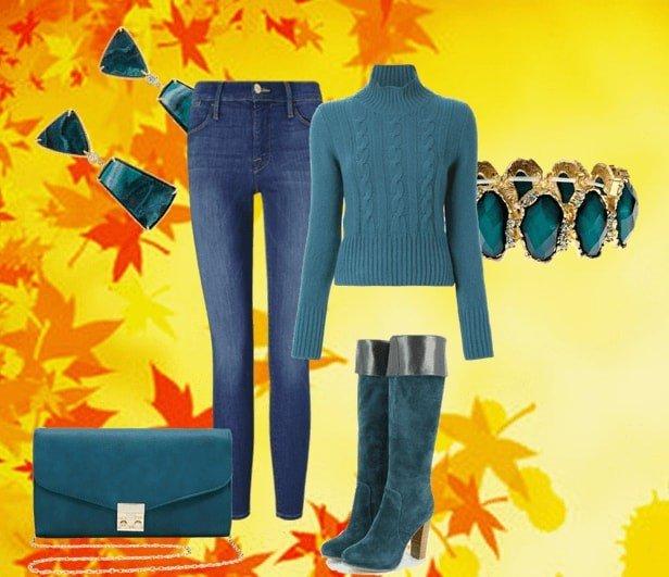 зимний лук с ботфортами цветной