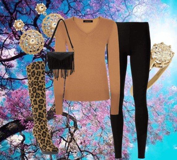 зимний лук с леопардовыми ботфортами