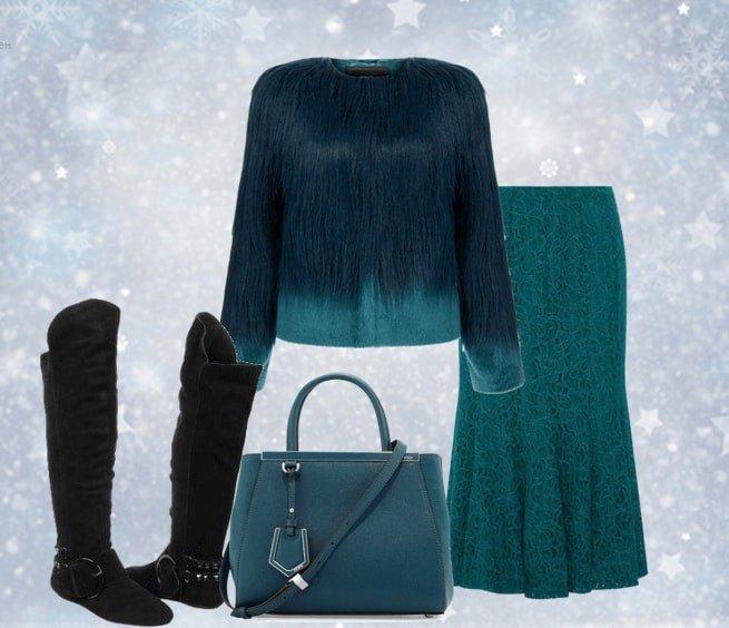 зимний лук с ботфортами без каблука