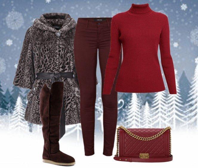 зимний лук с ботфортами бордовый