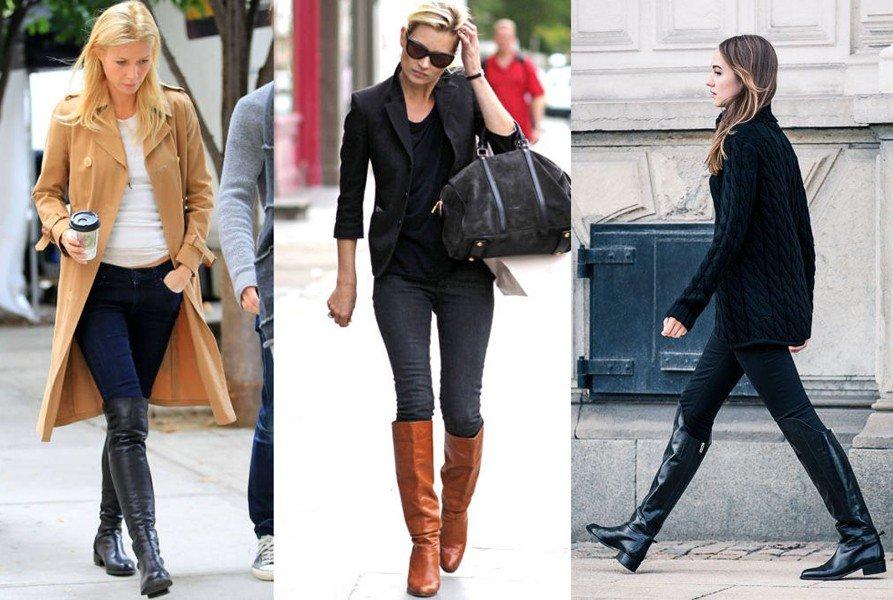 зимние ботфорты без каблука разные
